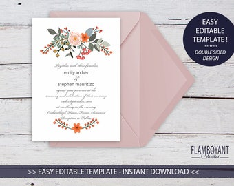 HEDGEROW Invitation - Printable - Country Floral Style - Editable Templates - Instant Download by Flamboyant Invites