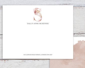 Whimsical, Monogram S, Printable Template, Correspondence Cards, Thank You Cards, Watercolour, Monogram, Printable Note Cards, Pink Monogram