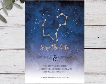 Written in the Stars, Save the Date, Printable Invitation Template, Star Signs, Aries, Aquarius, Gold