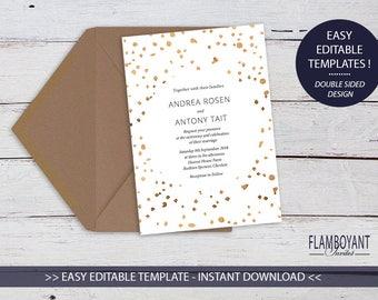Bronze Confetti Printable Invitation