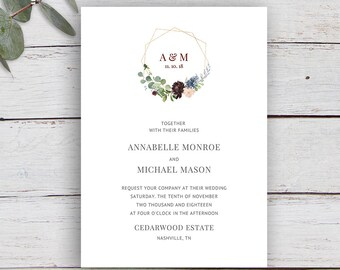 Geo Floral, Monogram Invitation, gold geometric Invitation, Printable Invitation Template, Wedding Invitation, Floral, Foliage, Monogram
