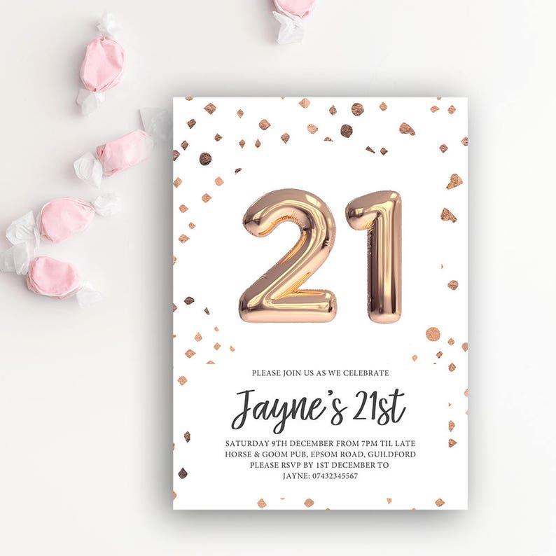 21st Birthday Printable Invitation Rose Gold Balloon