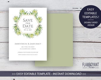 COCO PALM Suite -  Save the Date Card - Editable Templates - Tropical Palm Print - Printable - Instant Download