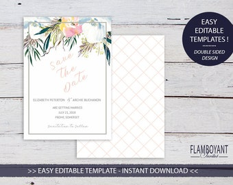 SUMMER ROSES Suite -  Save the Date Card - Editable Templates - Summer Florals - Printable - Instant Download