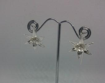Silver earrings, lily earrings, flower earrings
