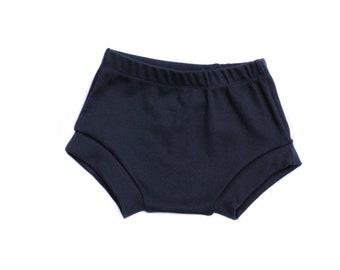 Solid Organic Baby Shorts- Navy Baby Bummies-Gray Bummies-Solid Bummies-Black, Gray, Blue, Coral