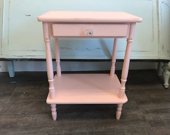 Shabby Chic End Table Nightstand Pink Distressed Cottage Farmhouse