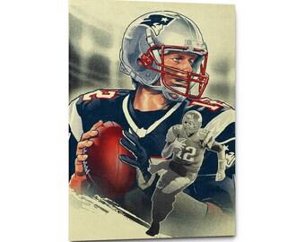 Tom Brady Canvas Wall Art Print, New England Patriots Poster, Tom Brady Artwork, Football Print, Sports Art Print, Home Decor