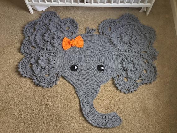 Große Elefanten Häkeln Teppich Kinderzimmer Etsy
