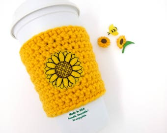 Sunflower cup cozy - mother gift, gardener gift, crochet cup cozy, coffee cozy, cup bands, coffee cup cozy, tea sleeve,  cup cover
