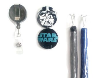 """Star Wars, Dark Vader retractable ID badge,key holder-interchangeable buttons and trendy tassels, hook backing,5 pieces,button size 1 1/2"""""""