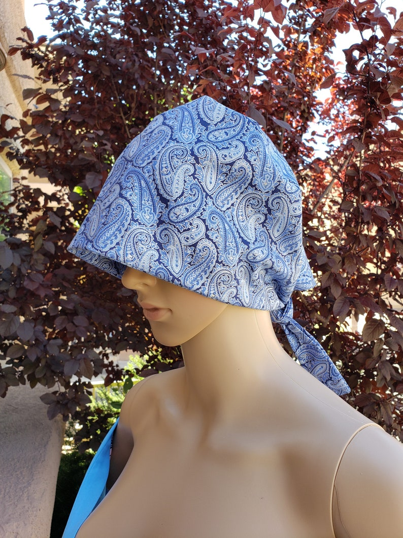 Homemade Blue Paisley Surgical Cap Cotton Cloth Bouffant Hat Tie Back For Nurses and Doctors