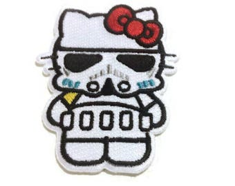 """Star Wars Dark Vader Hello Kitty embroidered patch-iron on-heat on-sew on backing-size 3 X 2"""""""