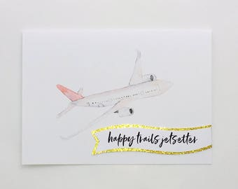 Happy Trails Jetsetter - Aeroplane with gold glitter (white card)
