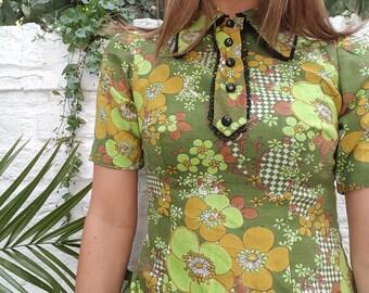 Vintage 60s Green Floral Collared Mod Dress
