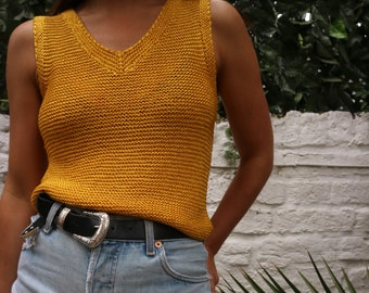 Vintage 80s Yellow Knit Summer Tank Top