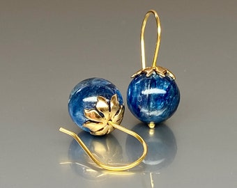 14k Gold Natural Blue Kyanite  Globe  Earrings, Denim Blue Earrings,  Sapphire Color Earrings, Kyanite jewelry Gift For Her.