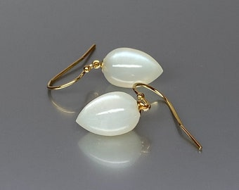 Flashy Raibow Moonstone and Rose Gold Filled Dangle Earrings Moonstone Jewelry Moonstone drops June Birthstone