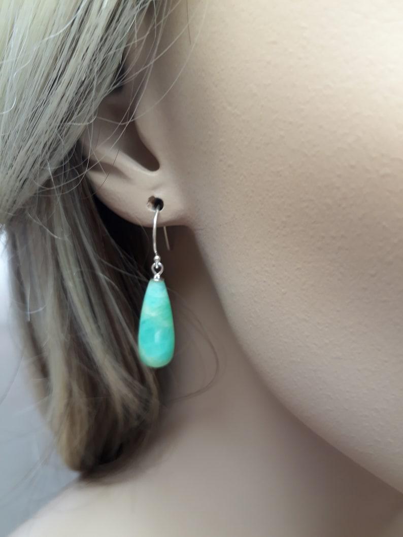 Gift for her mothers day jewelry Opal jewelry Green opal teardrop earrings Peruvian opal drop earrings Green opal dangle earringS silver
