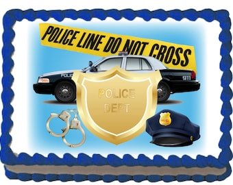 Police Department Edible Cake Cupcake Topper