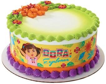 Dora the Explorer Plaza Del Sol Edible Cake Side Image Strips