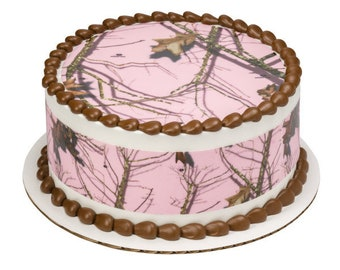 Mossy Oak® Break Up® Pink Edible Cake Side Image Strips