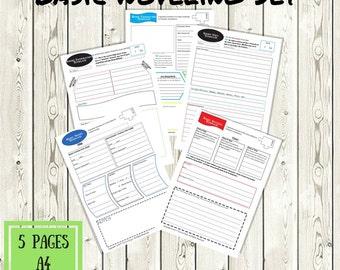 Basic Noveling Templates Printable Set - A4 - 8.5x11 - Writer Aides