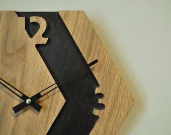 Hexagon clock \ honeycomb wall clock \ wood clock \ designers wall clock \ unusual clock \ homedecor clock