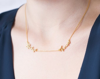 Duo Name Necklace - Two Name Necklace - Minimal Name Necklace in Gold Plated - Christmas Stocking Stuffers Gift - Your Name Jewelry E4