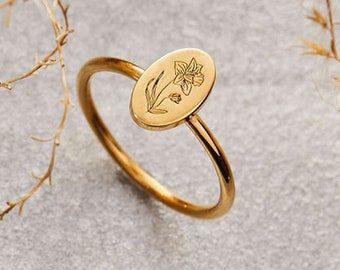 Birth Flower Ring Jannuary - Floral Signet Ring • Dainty Flower Jewelry - Summer Jewelry - Perfect Birthday Gift - Christmas Gift for Mom