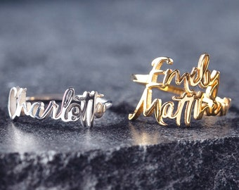 Two Name Ring - Personalized Three Names Ring - Customized Name Ring - Double Names Ring - Your Names Jewelry - Daughter Mother Ring B4
