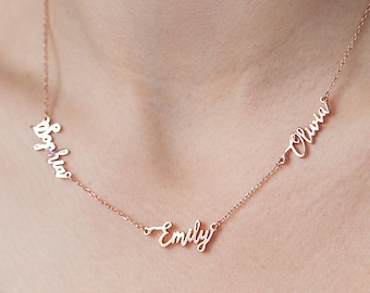 Custom Names Necklace, 3 Names Necklace, Linked Name Necklace, Family Necklace, MultipleName Necklace, Friendship Necklace,Mothers Day,