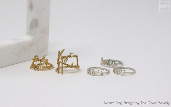 Name Ring Yellow Gold   Personalized Names Ring   Old English Name   Two Names Ring   Your Names Jewelry   Christmas Stuffers    Mom Day B7 by Etsy