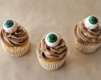 12 fondant eyeball cupcake topper, fondant eyes, Halloween topper, Halloween cake decorations, cauldron cake, creepy topper, eyeball topper