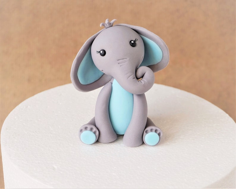 Fondant elephant cake topper for a themed baby shower baby image 0