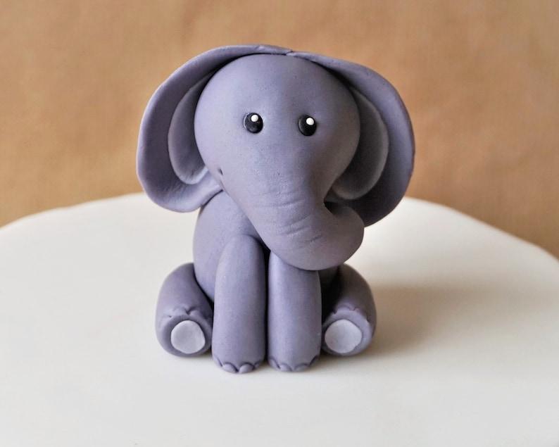 Fondant elephant cake topper elephant baby shower safari image 0