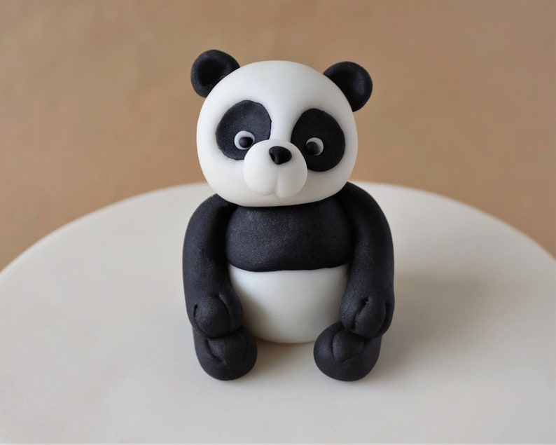Fondant panda cake topper panda bear topper fondant animal image 0
