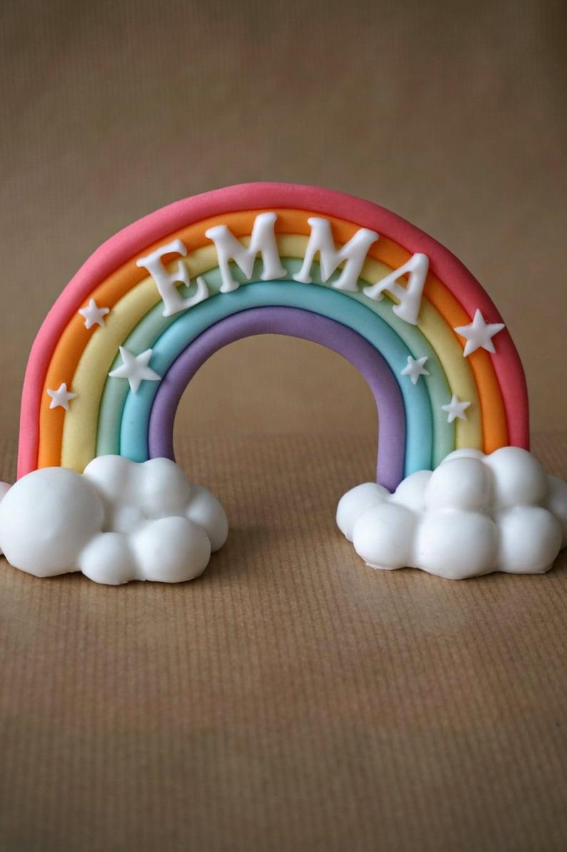 Fondant rainbow cake topper fondant name rainbow with name image 0