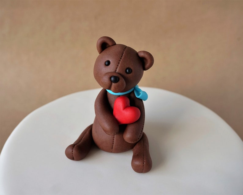 Fondant teddy bear cake topper for baby shower fondant bear image 0