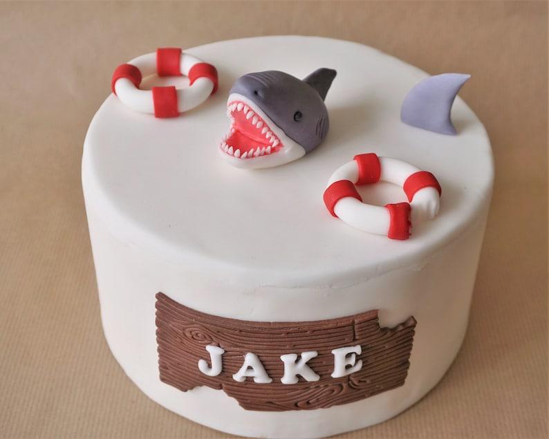Fondant shark cake topper set grey shark fin topper shark image 0