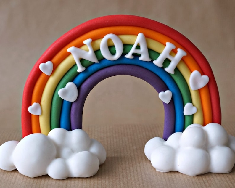 Fondant rainbow cake topper rainbow with name personalized image 0