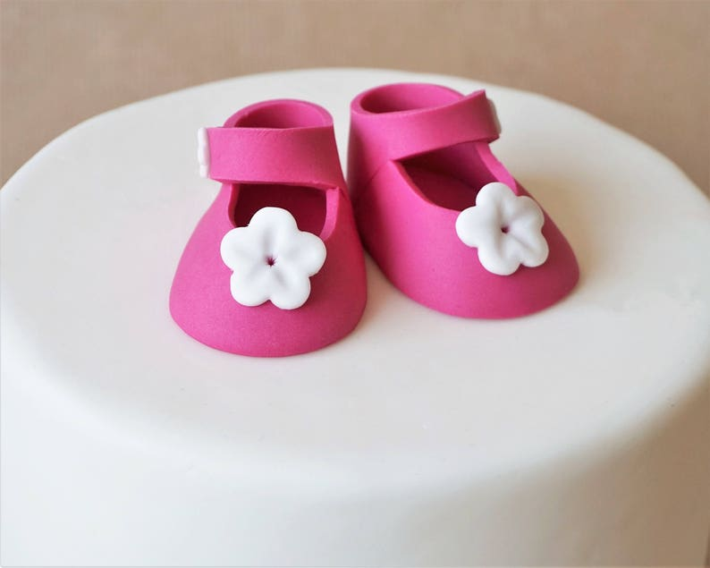 Fondant baby girl shoes for baby shower baby shower cake image 0