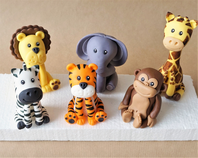 Safari cake toppers fondant safari animal cake giraffe | Etsy