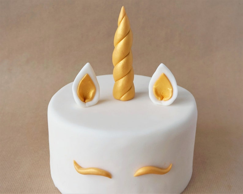 Fondant unicorn horn and ears cake topper for first birthday image 0