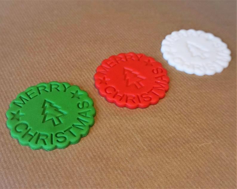 12 fondant Christmas cupcake toppers Christmas tree topper image 0