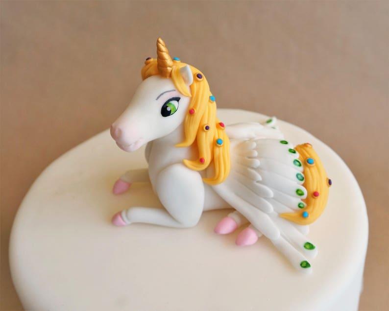 Fondant unicorn cake topper fondant horse Pegasus topper image 0