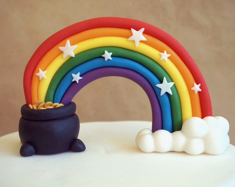 Fondant rainbow with a pot of gold and stars custom image 0
