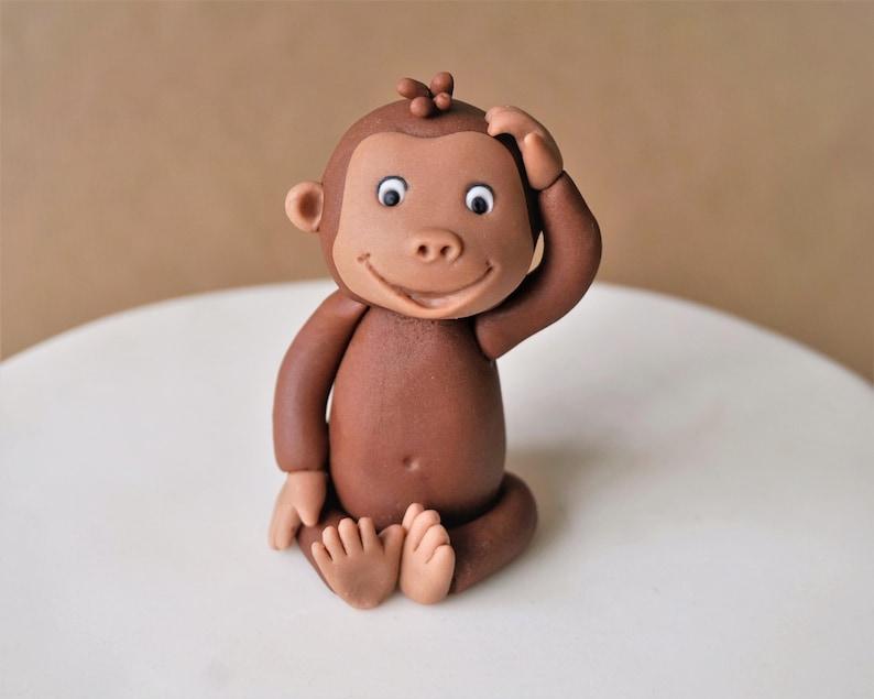 Fondant monkey cake topper for safari baby shower fondant image 0
