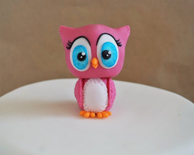 Fondant Owl Cake Topper Figurine First Birthday