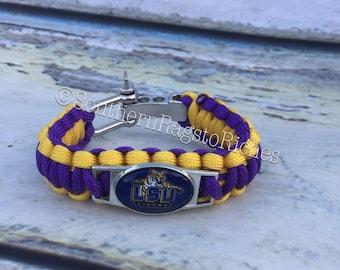 Louisiana State University Tigers paracord bracelet LSU